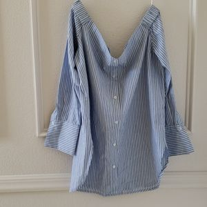 Blue and white Stripe off the shoulder  top